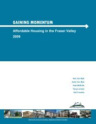 GAINING MOMENTUM Affordable Housing in the Fraser Valley 2009