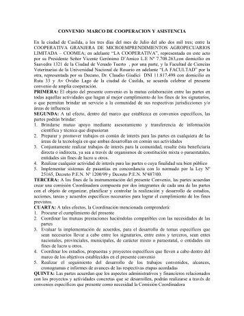 convenio marco de cooperacion y asistencia - Facultad de Ciencias ...