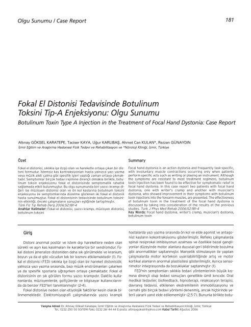 Fokal El Distonisi Tedavisinde Botulinum Toksini Tip-A ... - FTR Dergisi