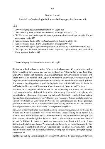 Fünftes Kapitel Ausblick auf andere logische Rahmenbedingungen ...