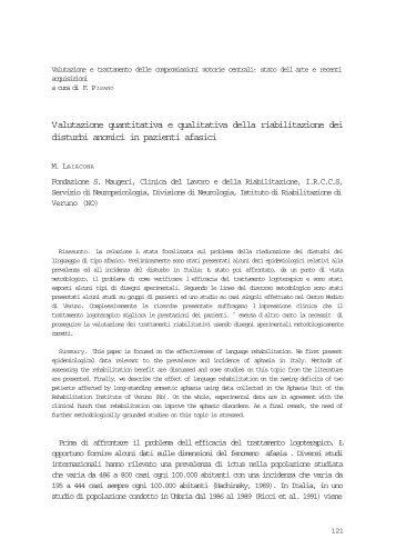 Valutazione quantitativa e qualitativa della riabilitazione dei disturbi ...