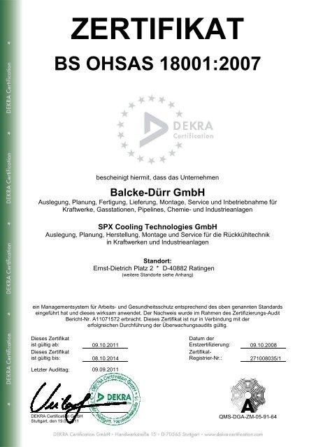 ZERTIFIKAT BS OHSAS 18001:2007 - Balcke-Dürr