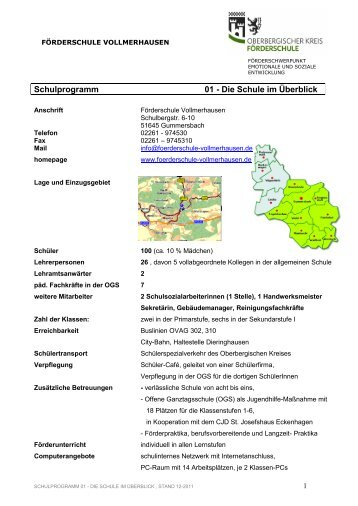 Schulprogramm 01 - Die Schule im Überblick - Förderschule ...