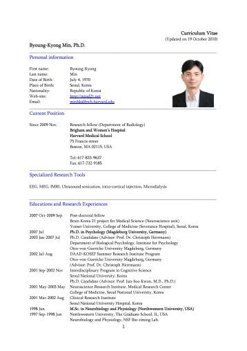 Curriculum Vitae Byoung-Kyong Min, Ph.D. Personal information ...