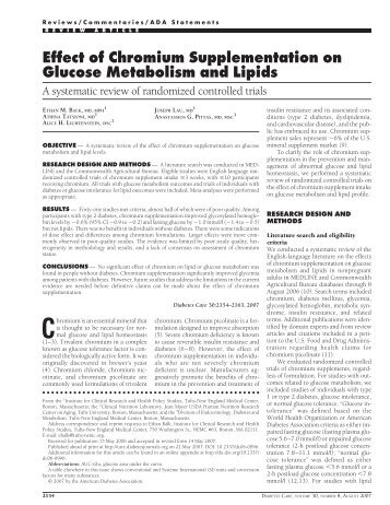 Effect of Chromium Supplementation on Glucose Metabolism and ...