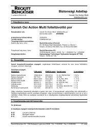 Biztonsági Adatlap Vanish Oxi Action Multi folteltávolító ... - Galatea Kft.