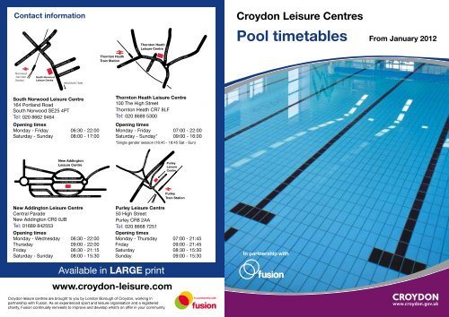 Swimming Timetable - Fusion Lifestyle