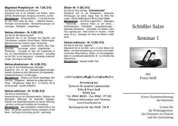 Schüßler Salze Seminar 1