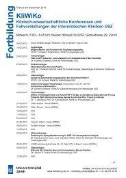 KliWiKo Klinisch-wissenschaftliche Konferenzen und ... - Fortbildung