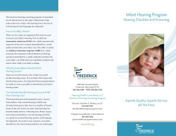 Infant Hearing Program - Frederick Memorial Hospital