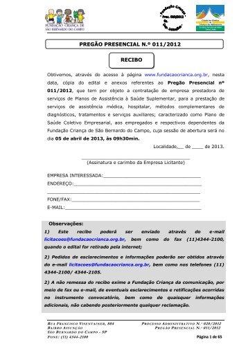 recibo pregão presencial n.º 011/2012 - Fundação Criança de São ...