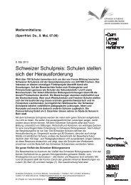 Schweizer Schulpreis: Sch sich der ... - Forum Bildung