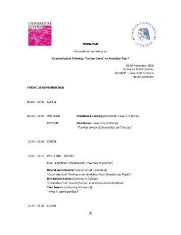 [1] PROGAMME International workshop on Counterfactual Thinking ...