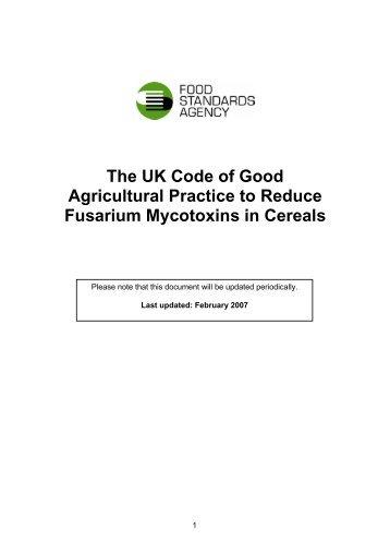 The UK Code of Good Agricultural Practice to Reduce Fusarium ...