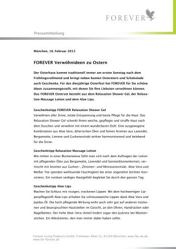 Pressemitteilung: FOREVER Verwöhnideen zu Ostern