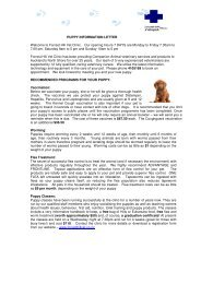 Puppy Info Letter - Forrest Hill Veterinary Clinic