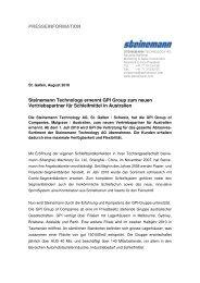 PRESSEINFORMATION Steinemann Technology ernennt GPI ...