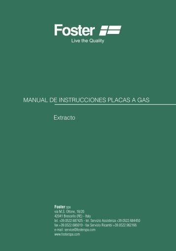 MANUAL DE INSTRUCCIONES PLACAS A GAS ... - Foster S.p.A.