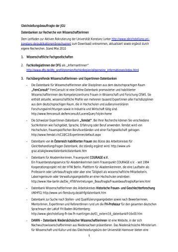 1 gleichstellungsbeauftragte der jgu datenbanken zur recherche - Einwohnermeldeamtsanfrage Muster