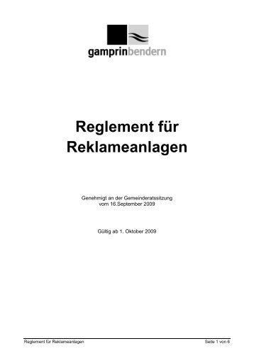 Reglement für Reklameanlagen - Gemeinde Gamprin