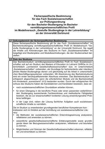 BvP Sozialwissenschaften - Fächerspezifische Bestimmungen