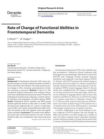 Rate of Change of Functional Abilities in Frontotemporal Dementia