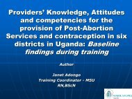 findings during training - International Conference on Family Planning