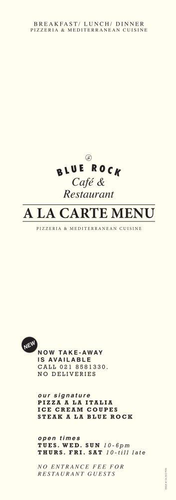 A LA CARTE MENU - Blue Rock