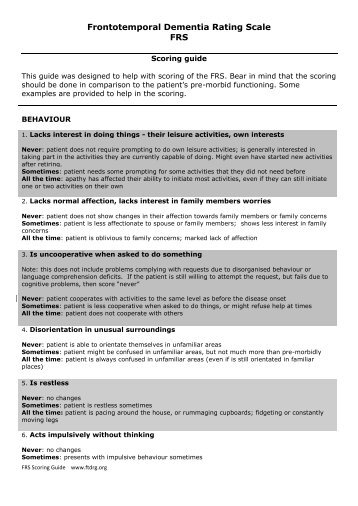Frontotemporal Dementia Rating Scale FRS
