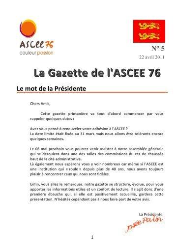 La Gazette de l'ASCEE 76 N° 5