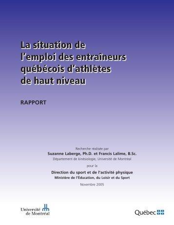 La situation de l'emploi des entraîneurs québécois d'athlètes de ...