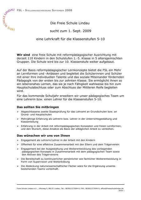 Die Freie Schule Lindau sucht zum 1. Sept. 2009 eine Lehrkraft für ...