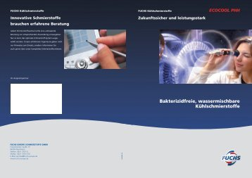 ECOCOOL PHH Kühlschmierstoffe - fuchs europe schmierstoffe gmbh