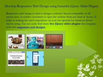 Develop Responsive Web Design using beautiful jQuery Slider Plugins