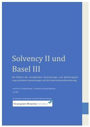 Solvency II und Basel III - Finanzplatz München Initiative