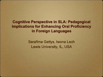 Cognitive Perspective in SLA: Pedagogical Cognitive Perspective in ...