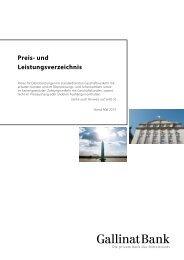 Preis- und Leistungsverzeichnis - Gallinat-Bank AG
