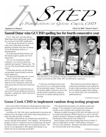 March 2008 - Goose Creek Consolidated Independent School District