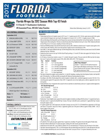 2012 Season Review - GatorZone.com