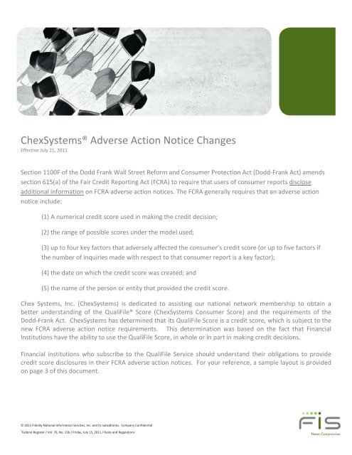 Adverse Action Notice >> Chexsystems Adverse Action Notice Changes Fis