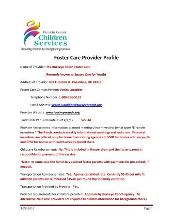 Foster Care Provider Profile - Franklin County, Ohio
