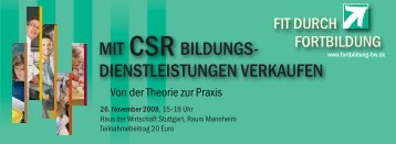 Flyer-CSR-ok.qxd:Layout 1 - Weiterbildung in Baden-Württemberg