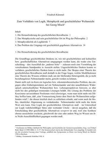 Zum Verhältnis von Logik, Metaphysik und ... - Friedrich Kümmel