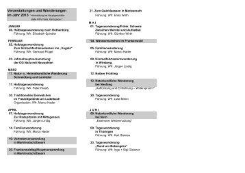 Wanderplan 2013 - Januar bis August / PDF - Frankenwaldverein