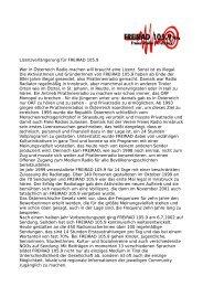 Lizenzverlängerung für FREIRAD 105.9 Wer in Österreich Radio ...