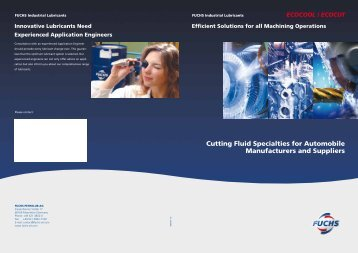 Cutting Fluid Specialties for Automobile Manufacturers and Suppliers