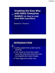 Topic:Graphing the Easy Way with SAS® Enterprise Guide