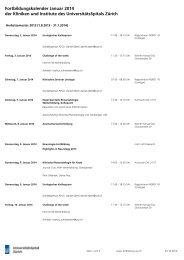 der Kliniken und Institute des UniversitätsSpitals Zürich ... - Fortbildung