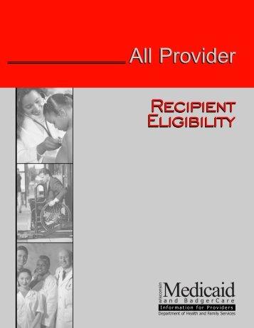 Recipient eligibility - Wisconsin.gov