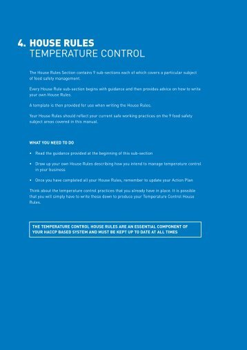 4. HOUSE RULES TEMPERATURE CONTROL